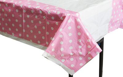 PrettyurParty Polka Dots Table Cover Light Pink