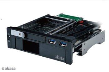 【AKASA】 システム高速化に有利なSSD、大容量ストレージの構築が容易なHDDを5.25インチベイに増設!(AK-IEN-01)