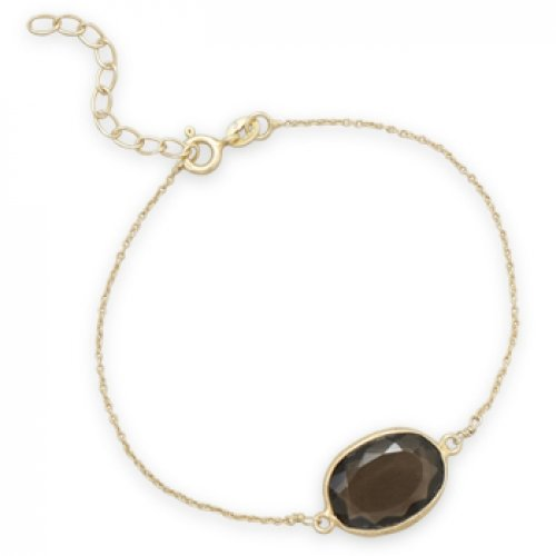 MMA Silver - 7 inch+1 inch 14 Karat Gold Plated Smoky Quartz Bracelet
