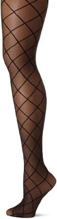 Jessica Simpson Women's Lurex Criss Cross Diamond Sheer Tight Socks, Black/Gold, Medium/Tall
