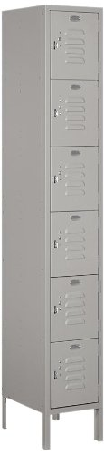 Salsbury Industries 66165GY-U Unassembled Standard Metal Locker with Six Tier Box Style, Gray