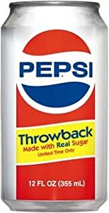 Pepsi Throwback, 12 oz Cans (Pack of 12 Cans)
