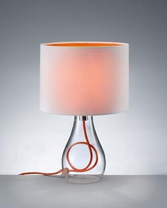 trio leuchten tischleuchte mit klarglasfu kabel stoffschirm wei innen orange 508500101. Black Bedroom Furniture Sets. Home Design Ideas