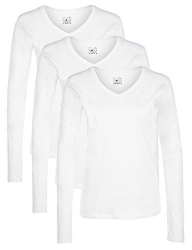 Berydale Camicia donna a maniche lunghe con scollo a V, confezione da 3 in diversi colori, Bianco (Weiß), Small (Taglia Produttore: S)
