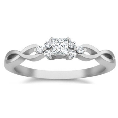 0.58 Carat Affordable Diamond Engagement Ring with Princess cut Diamond on 18K White gold