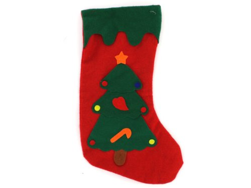 Felt Christmas stocking, Christmas tree - Pack of 48