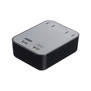 BUFFALO USB充電器 3.1A出力 2ポートタイプ コンセント2口付き ブラック BSMPBAC06BK