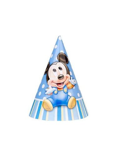Mickey Mouse 1st Birthday Cone Hats (8ct) - 1