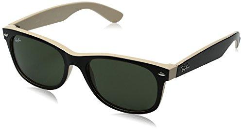 ray-ban-rb2132-new-wayfarer-sonnenbrille-gr-52mm-gestell-schwarz-glaser-kristall-grun