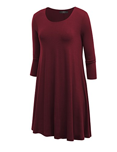 LL WDR930 Womens Round Neck 3/4 Sleeves Trapeze Dress with Pockets XXL WINE