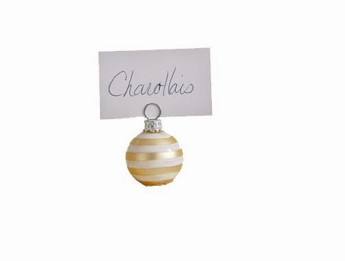"Tag Glitter Glass, Christmas Ornament-shaped Place card Holders, Gold, Set of 16 Mini's (1.75"")"