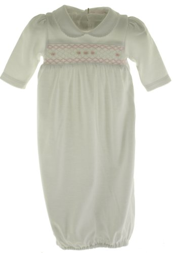 Kissy Kissy Infant Girls White Smocked Layette Take Home Gown Pink Smocking -Newborn