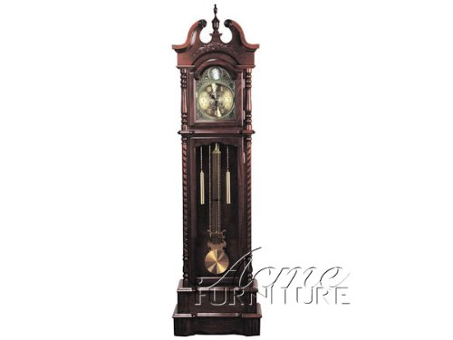 Grandfather Clock with Beveled Glass in Dark Walnut Finish Acs001431