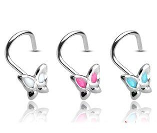 Pack of Three 20 Gauge Butterfly Nose Studs (1 x White, 1 x Pink and 1 x Light Blue) .925 Sterling Silver - Supplied in Gift Pouch