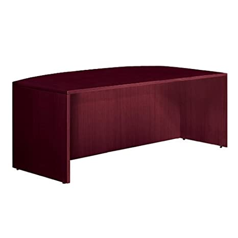 """Offices To Go SL7141BDSAM Bow Front Desk Shell, 71""""W x 36/41""""D x 29-1/2""""H, American Mahogany"""