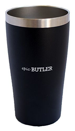 Vacuum Insulated Stainless Steel Pint by Epic Butler, 16 oz (Black) (True Flavor Ware compare prices)