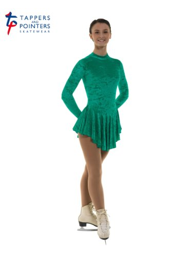 Tappers & Pointers Girls Crushed Velvet Ice Skating Dress (JADE, 11-12 YEARS)