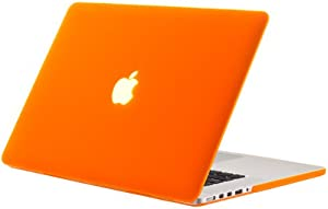 """Kuzy - ORANGE Rubberized Hard Case Cover for Apple MacBook Pro 15.4"""" with Retina Display Model: A1398 (NEWEST VERSION) 15-Inch - ORANGE"""