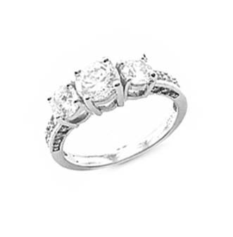 Sterling Silver Rhodium Engagement Ring with Clear CZ - Size: 6-9, 7