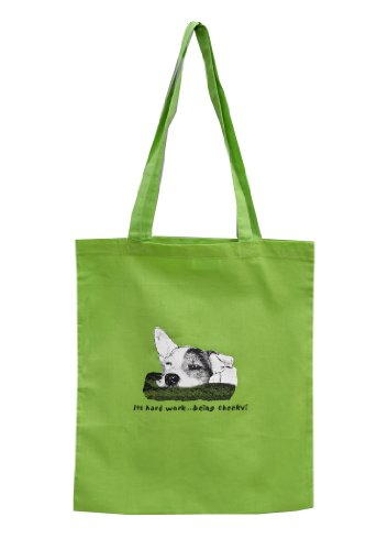 Hard work being..cheeky! Jack Russell Green Tote bag