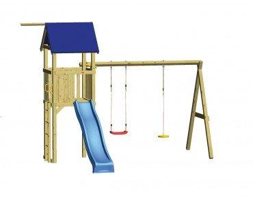Winnetoo Spielturm Set 5 - Stelzenhaus inkl. Rutsche und Schaukelanbau