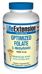 Life Extension - Optimized Folate L-Methylfolate 1000 mcg. - 100 Vegetarian Capsules ( Multi-Pack)