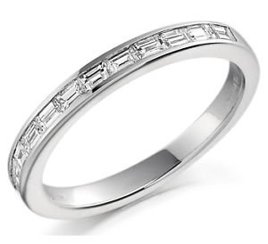 finediamondsrus F/Vs 0.25ct Baguette Cut Diamond Half Eternity Wedding Ring Band In Platinum