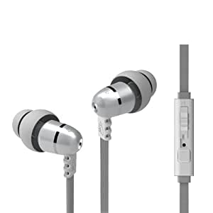 MEElectronics M9P Flat Cable In-Ear Headphone with Headset Functionality and Universal Volume Control, Second Generation (Pearl)