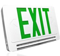 Green Led Exit Sign With Led Light Bar, Gcled-U-Wh, Ul924 Listed Ultra- Bright, Energy Efficient White Leds High Quality Materials 20 Gauge Galvanized Steel Unique And Attractive Design An Ideal Choice For Schools, Office Complexes, Light Commercial Areas