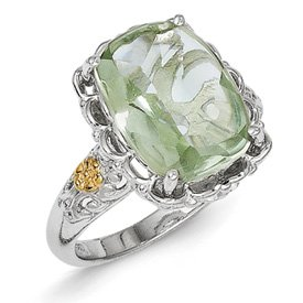 Genuine IceCarats Designer Jewelry Gift Sterling Silver W/14K Green Quartz Ring Size 6.00