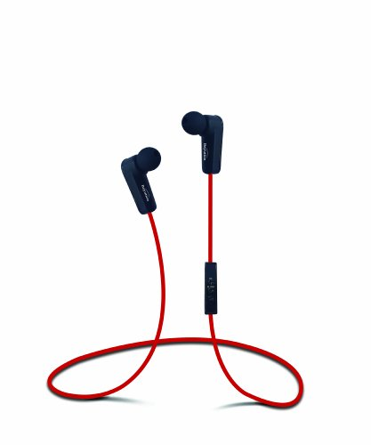 New Sport Wireless Bluetooth Headset Stereo Earbuds Headphone With In-Line Microphone, Built In Li-Battery, Bluetooth 4.0 With A2Dp Technology,Noise Cancellation Technology, (Red)