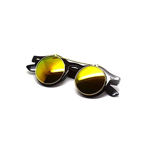 Ultra Flip up nero con lenti oro cerchio Steampunk alta qualità occhiali occhiali retrò Cyber UV400 occhiali da sole rotondi con custodia nera