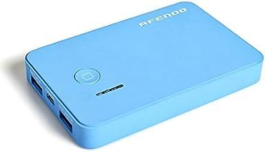 AFENDO® 5000mAh Ultra-Dünne Ultra-Kompakt tragbare Ladegerät Pack Externe Mobile Backup Batterie USB- Ausgang Portable smart Starker Power Bank (Externer Akku-Pack und Ladegerät) Dual USB (2,1 A / 1,0 A Ausgang) mit 4-5W LED-Taschenlampe mit hoher Kapazität Notfall Ladegerät für iPad, iPad 2,3, iPhone 6, 5S, 5C, 5, 4S, 4, 3Gs 3G, 3, iPod, Blackberry, HTC, Android, Samsung, Nokia, Sony, Motorola, alle Generationen Mp3 Mp4 Player und Smart Phones und Bluetooth-Lautsprecher, Bluetooth-Kopfhörer, die meisten Bluetooth-Geräte 5V und anderen digitalen Geräten (Apple-Adapter-30-Pin-und Lightning, nicht enthalten) mit 18 Monate Herstellergarantie (blau)
