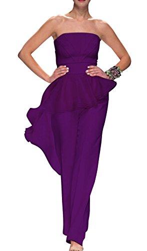 Dapene® Women'S New Strapless Peplum Formal Long Evening Dresses Purple
