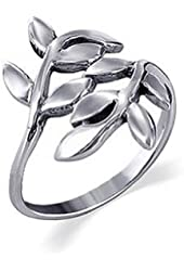 925 Sterling Silver Polished Finish Ivy Leaf Design Ring