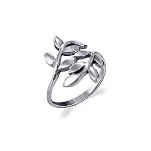 LWRS015-4 Sterling Silver 23mm Wide Cute Ivy Leaf Design Polish Finish 2mm Wide Band Ring Size 4
