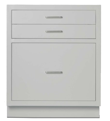"Looped Logic LL2429AG-SSAA Modular Steel Base Cabinet With 3 Drawers, Shadow Gray, 24"" Sitting Height, With Chemical Resistant Powder Coated Finish"