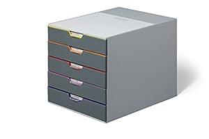 Durable 760527 Schubladenbox Varicolor 5, mit 5 Fächern, farbiger Ablauf