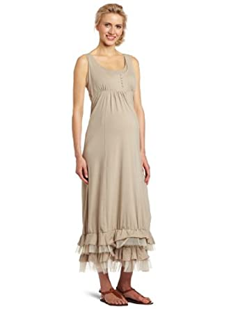 Mothers en Vogue Women's Maternity Tulle Maxi Dress, Light Khaki, Small