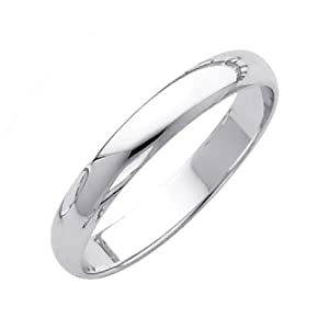 14K White Gold 3mm Plain Wedding Band Ring for Men & Women (Size 4 to 12) - Size 7
