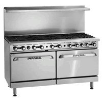"Imperial Range Ir-6-G24 60"" 6 Burner Elite Restaurant Range, 24"" Griddle With Two 26 1/2"" Ovens - Stainless Front"
