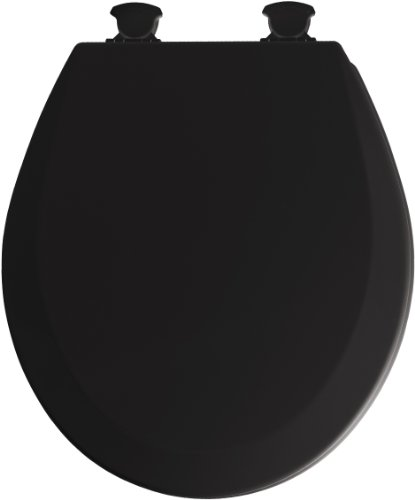 Mayfair 46EC 047 Molded Wood Toilet Seat with Lift-Off Hinges, Round, Black