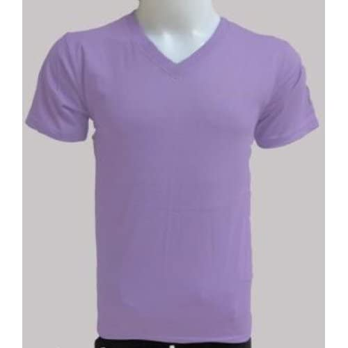 Amazon.com: Men's Light Purple Short Sleeve Cotton V Neck T-shirts (##