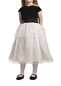 CCHAPPINESS Girls Tea Length Bow Sash Organza Pretty Pageant Communion Flower Girl Dresses White Child 14