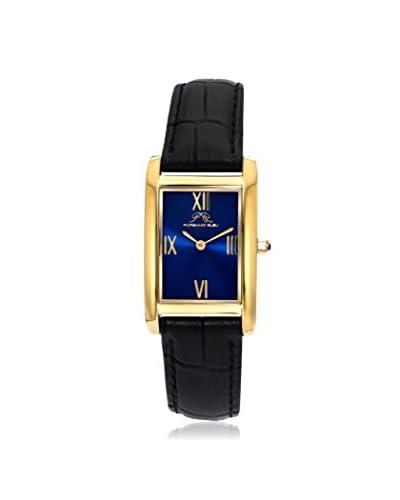Porsamo Bleu Women's 962BKAS Karla Gold Tone Stainless Steel Barcelet / Black Genuine Leather Strap Watch