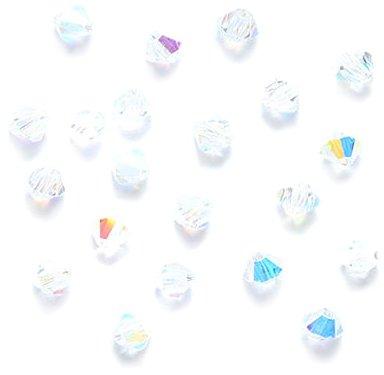 Preciosa 3-Mm Czech Crystal Diamond/Bicone Bead, Crystal Aurora Borealis, 144-Piece