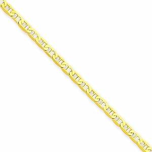 14K 9 inch Polished Anchor Link Anklet