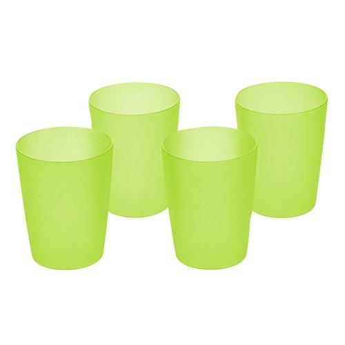 OKT 2053828 Set de 4 Verres Plastique Vert/Transparent 0,25 L