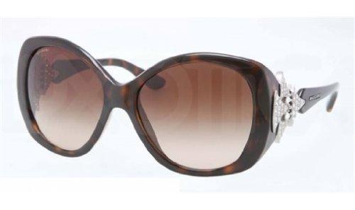 New Bvlgari BV 8126B 977/13 Havana Frame With Brown Shaded Lens Men Women Butterfly Sunglasses