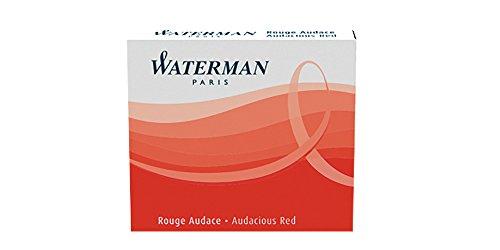Waterman Cartouches Internationales Courtes pour Stylo Plume Encre Rouge Audace - Etui de 6